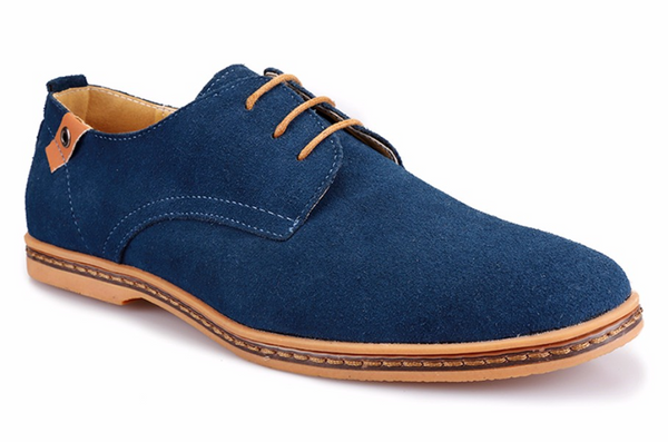 Blue Male Suede Oxfords
