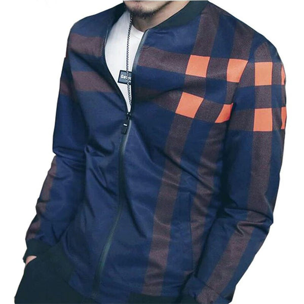 Autumn Plaid Windbreaker Jacket blue