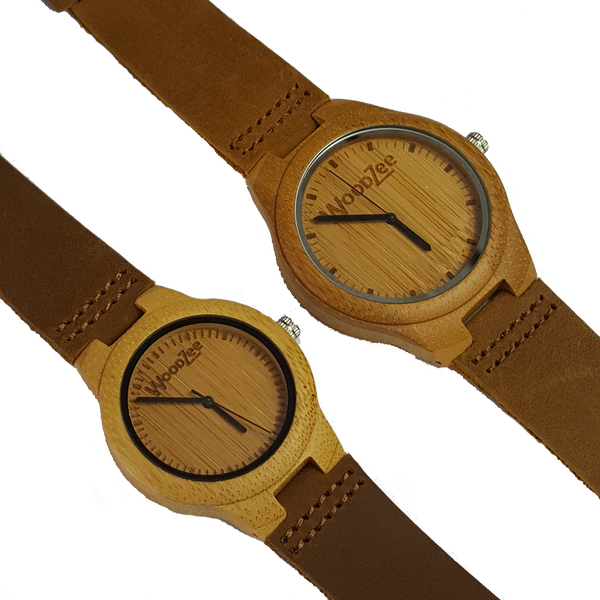 Love Birds - Bamboo Couples Watches With Leather Strap - WoodZee ZA - Bamboo Watch
