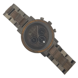 Dark Steel - Stainless steel and wood watch - WoodZee ZA - Zebra Stripe