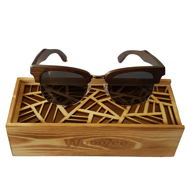 Metal / Ebony Sunglasses - Wooden Sunglasses With Polarized Lenses - WoodZee ZA - Ebony Sunglasses