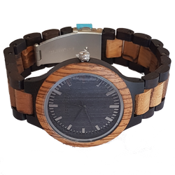 The Boss - Zebrawood Watch With Wood Links