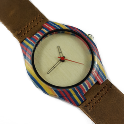 Color Attack - Colorful Wooden Watch With Brown Leather Strap - WoodZee ZA - Maple Watch
