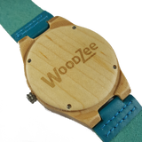 Blue's - Wooden Bamboo Watch With Blue Leather Strap - WoodZee ZA - Bamboo Watch