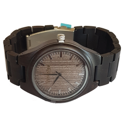 MR.Grey - Wooden Ebony Watch With Wood Links - WoodZee ZA - Ebony Watch