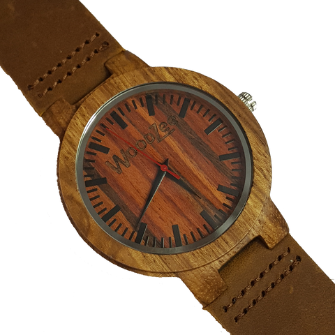 Red Love - Zebrawood Watch With Brown Leather Strap - WoodZee ZA - Zebra Stripe