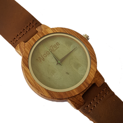 Wood Stock - Wooden Zebrawood Watch With Leather Strap - WoodZee ZA - Zebra Stripe