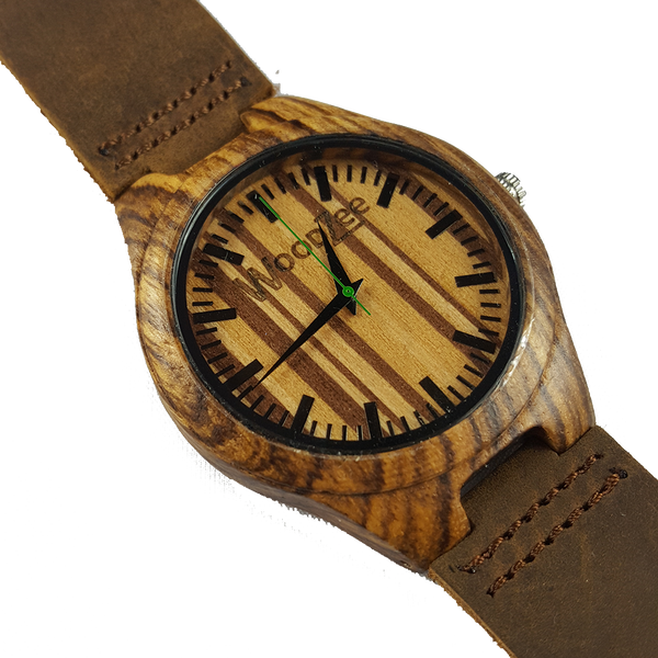Racing Stripes - Zebrawood Watch With Dark Brown Leather - WoodZee ZA - Zebra Stripe