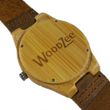 Stripe Away - Wooden Bamboo Watch With Leather Strap - WoodZee ZA - Bamboo Watch
