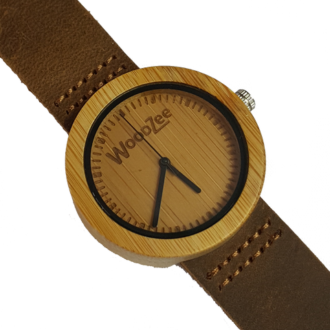 Woody - Bamboo Ladies Watch With Brown Leather Strap - WoodZee ZA - Bamboo Watch