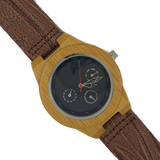 Ticker - Wooden Bamboo Watch With Leather Strap - WoodZee ZA - Bamboo Watch