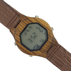 Lets Get Digital - Zebrawood Digital Watch With Leather Strap - WoodZee ZA - Zebra Stripe