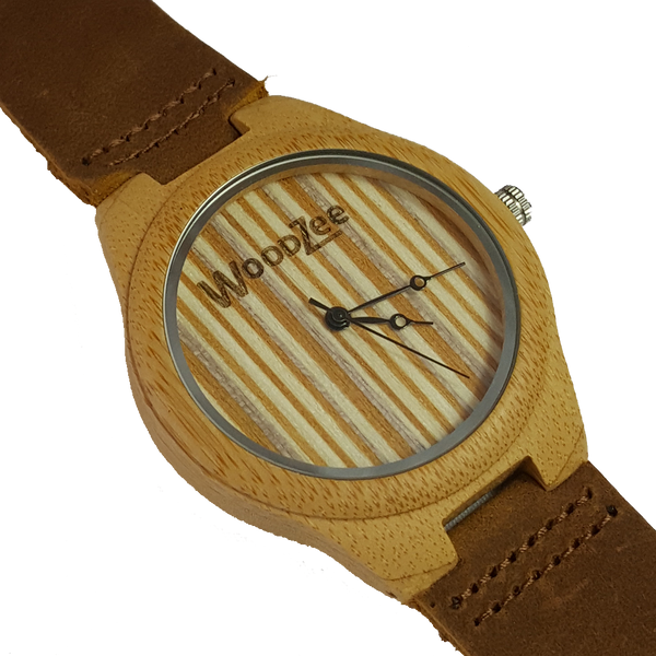 Fancy Hands - Wooden Bamboo Watch With Leather Strap - WoodZee ZA - Maple Watch