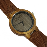 Out And About - Zebrawood Watch With Leather Strap - WoodZee ZA - Zebra Stripe