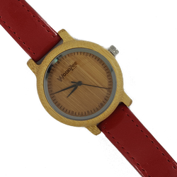 Lady In Red - Wooden Bamboo Ladies Watch With Red Leather Strap - WoodZee ZA - Bamboo Watch