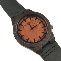 Maroon Force - Wooden Ebony Watch With Black Leather Strap - WoodZee ZA - Ebony Watch
