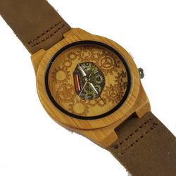 Changing Gears - Wooden Bamboo Watch With Leather Strap - WoodZee ZA - Bamboo Watch
