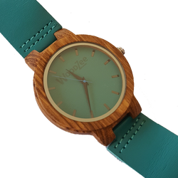 Blue Gem - Wooden Zebrawood Watch With Blue Leather Strap - WoodZee ZA - Zebra Stripe