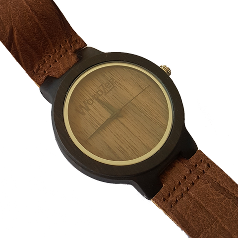 Lumberjack - Wooden Ebony Watch With Brown Leather Strap - WoodZee ZA - Ebony Watch