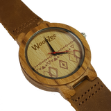 Wood You - Wooden Zebrawood With Dark Brown Leather Strap - WoodZee ZA - Zebra Stripe