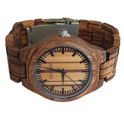 The Zebra - Zebrawood Watch With Wooden Links - WoodZee ZA - Zebra Stripe