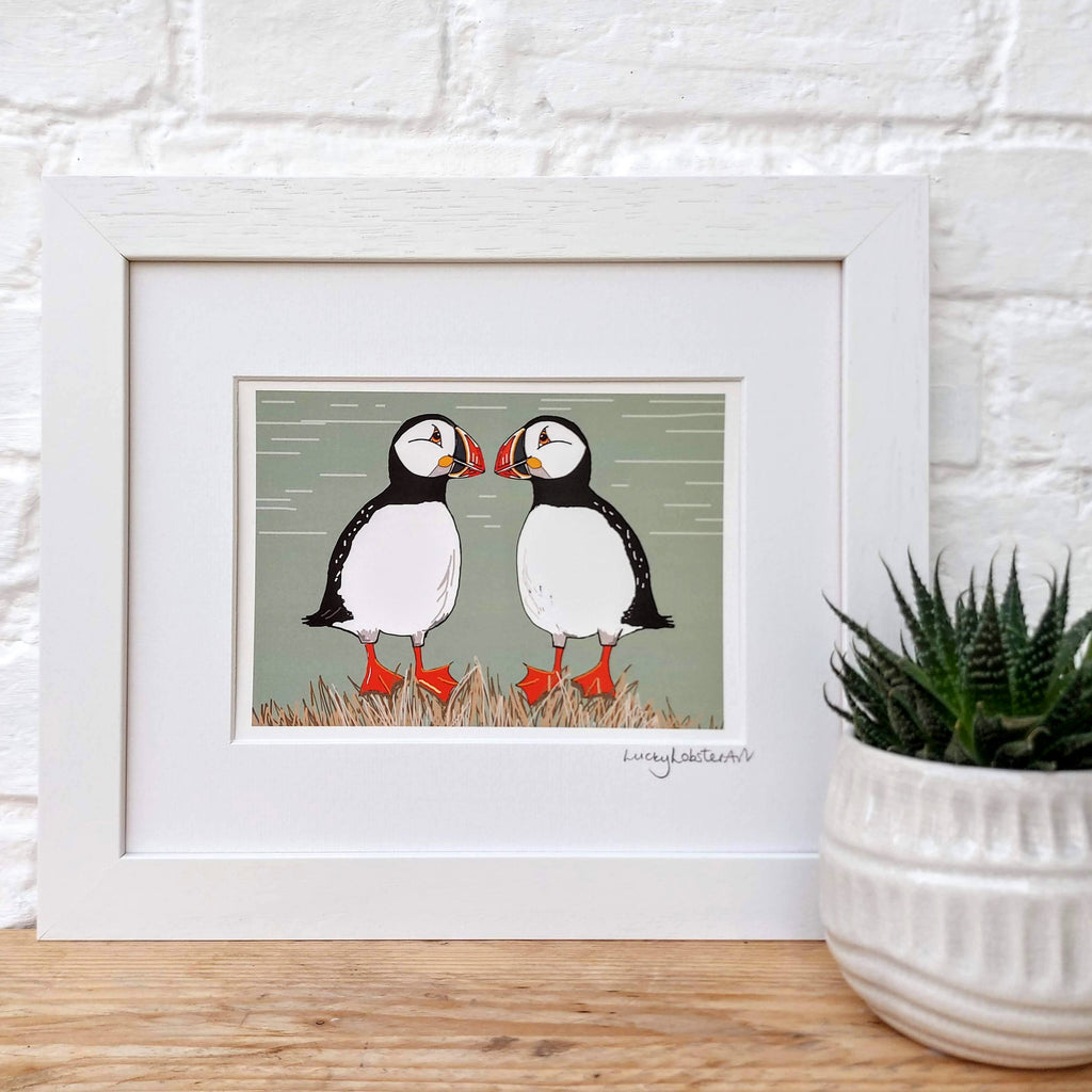 Two Cheeky Puffins print