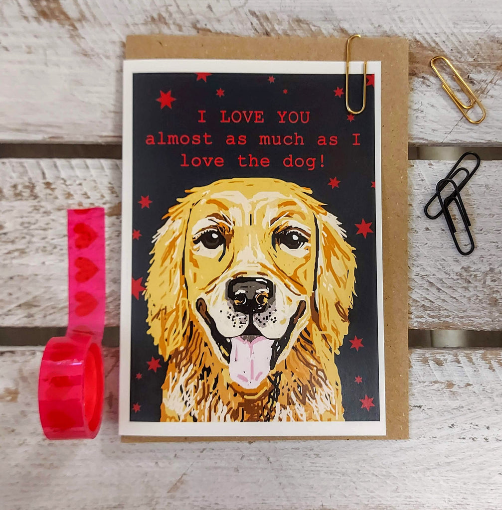 Valentines Golden Retriever Card