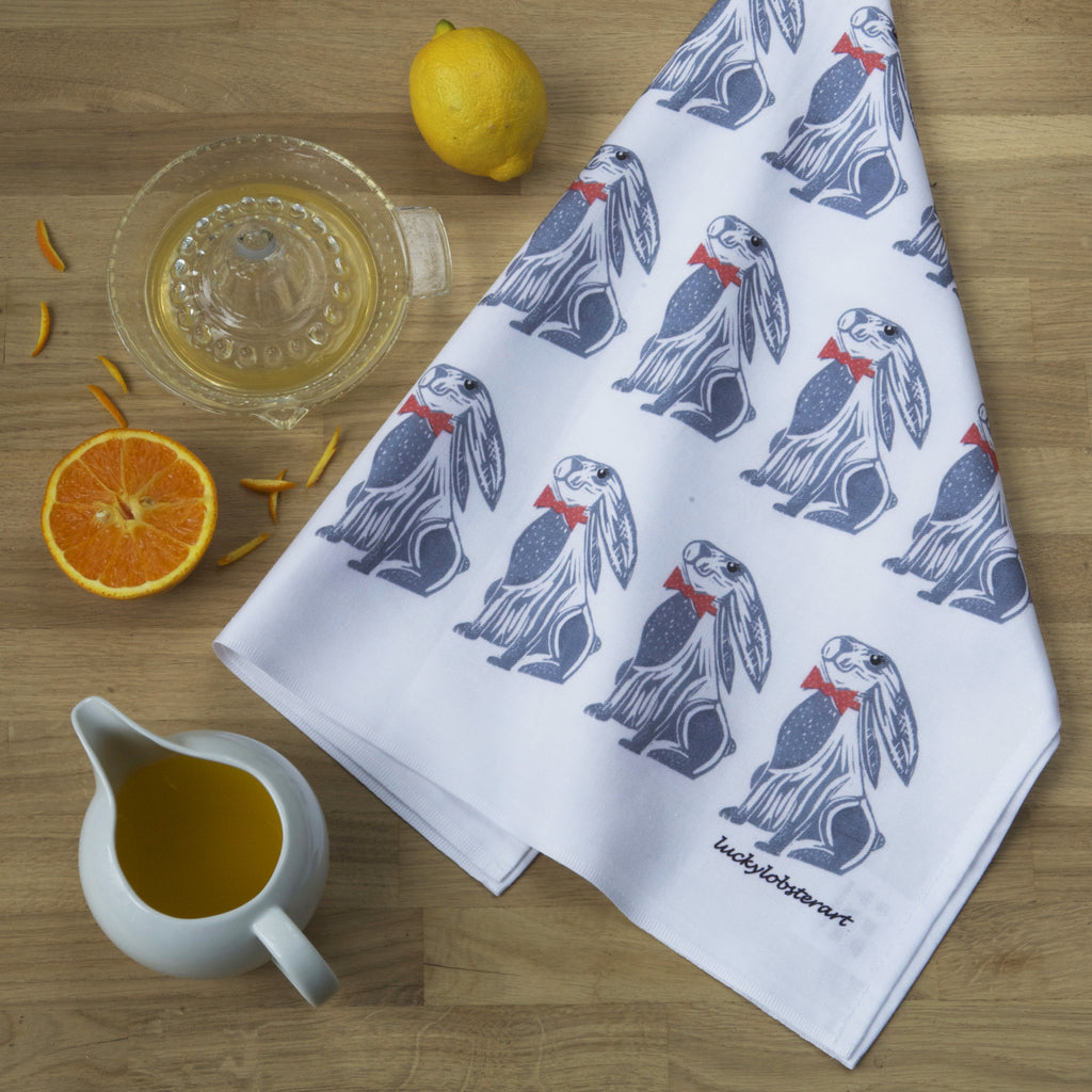 Grey Hare Tea Towel