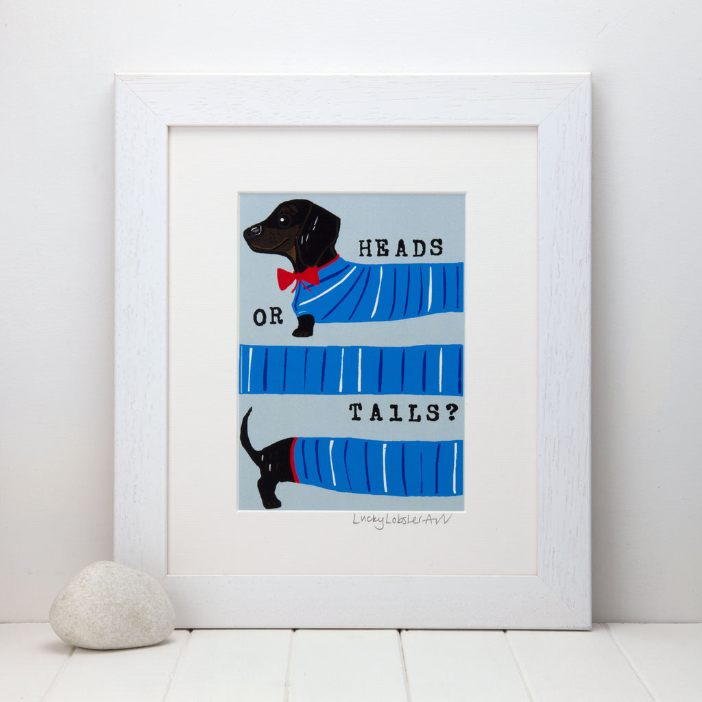 Dachshund Heads or Tails Print