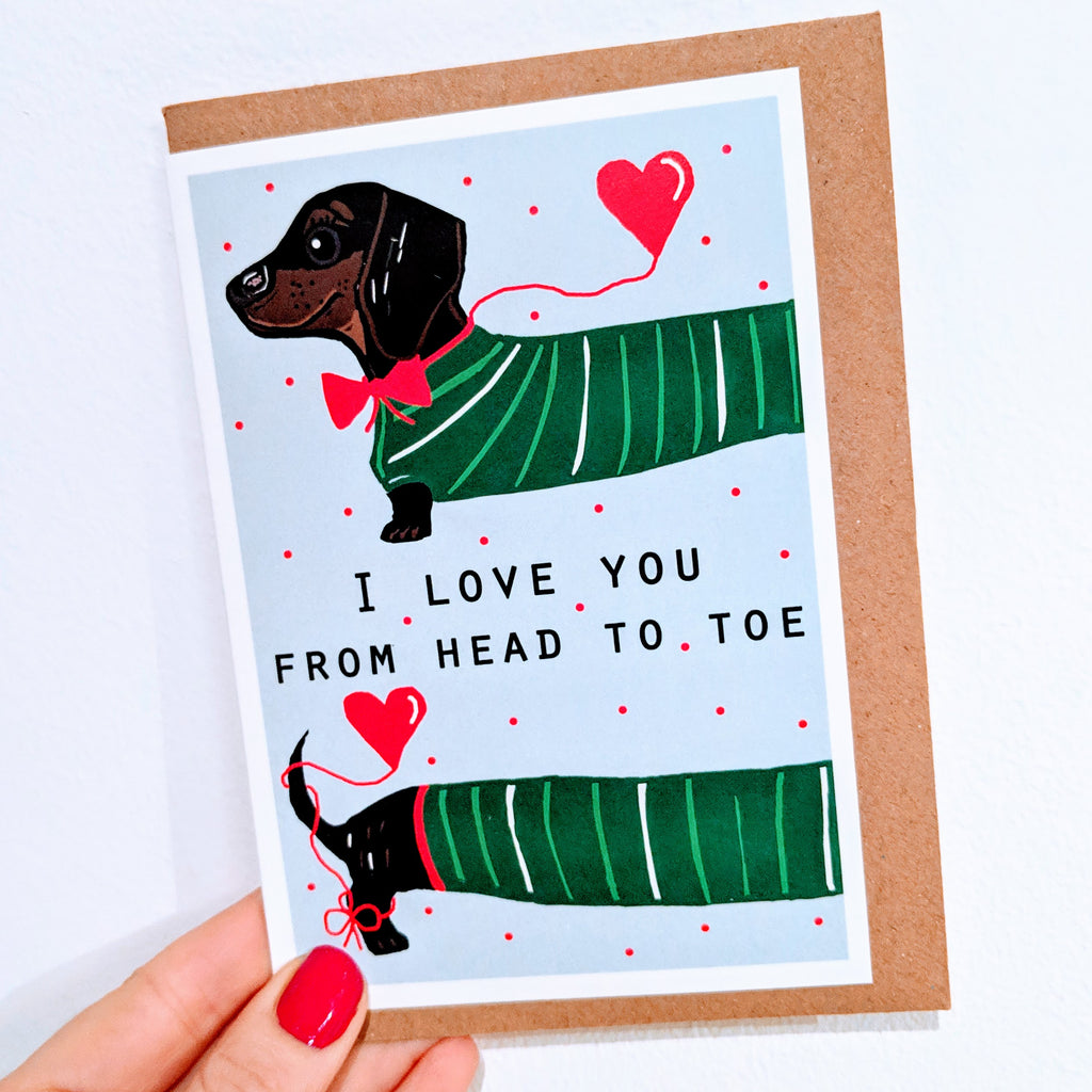 Dachshund 'Head to Toe' Card