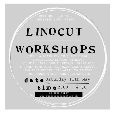Linocut Printmaking Workshops Saturday 11th May (Sold out) & Saturday 8th June 2019