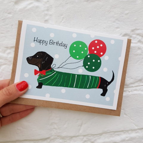 'Balloons' sausage dog card