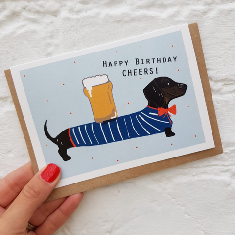 'Cheers' sausage dog card