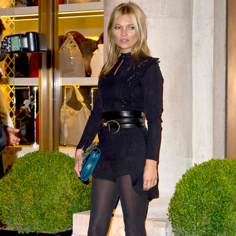 Kate Moss in black opaques tights and  shorts