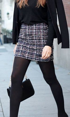opaque black tights and tweed mini skirt