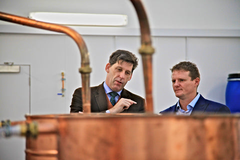 Pictured are Lord Duncan, UK Climate Change Minister (left) and Stephen Kemp, Owner of Orkney Distilling Ltd (right).