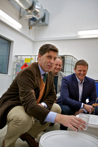 Pictured from left to right are Lord Duncan, UK Climate Change Minister; Jon Clipsham, Hydrogen Manager at EMEC and Stephen Kemp, Owner of Orkney Distilling Ltd.