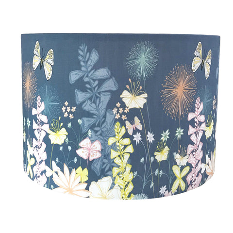English Country Garden Lampshade - Blue/Grey