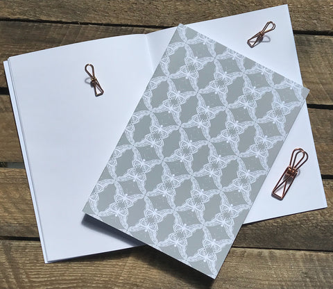 Grey Lace Butterflies A5 Notebook