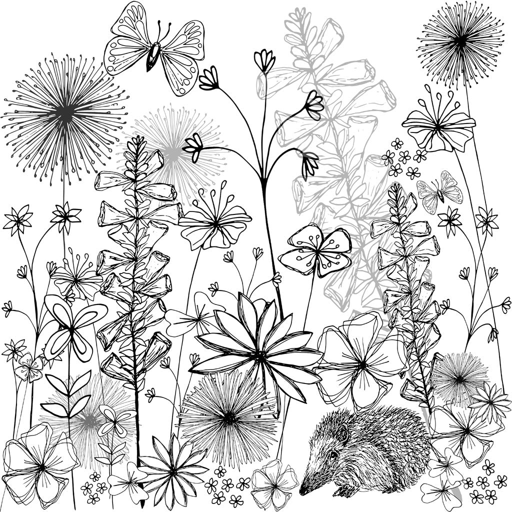 English Country Garden Black & White Print (unframed)