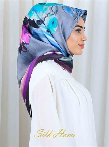 Silk Home : Lorna Floral Silk Head Scarf Silk Home Silk Home