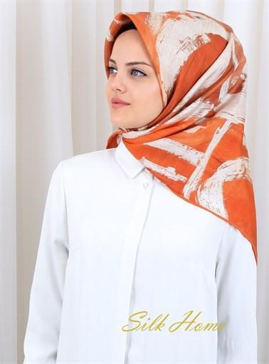 Silk Home : An Orange Rhapsody Trendy Silk Scarf Silk Home Silk Home