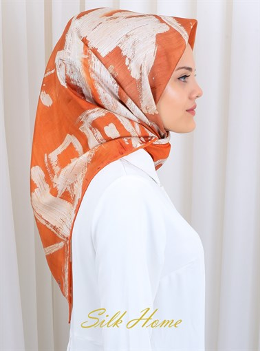 Silk Home : An Orange Rhapsody Trendy Silk Scarf
