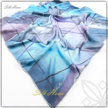 Silk Home : Blue Mosaic Beautiful Silk Head Cover Silk Home Silk Home