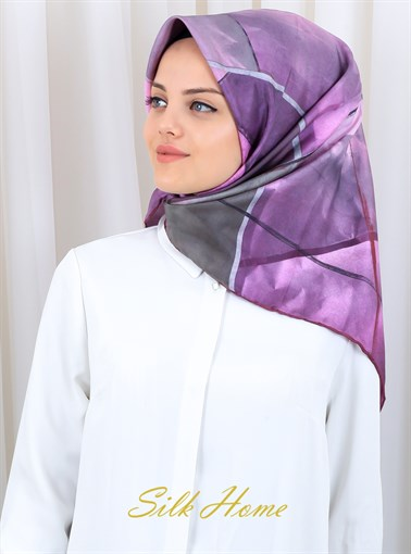Silk Home : Purple Eclipse of My Heart Silk Twill Scarf
