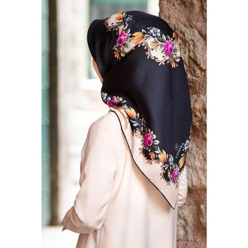 Vissona Gardenia Floral Turkish Silk Scarf No. 1 Silk Hijabs Vissona