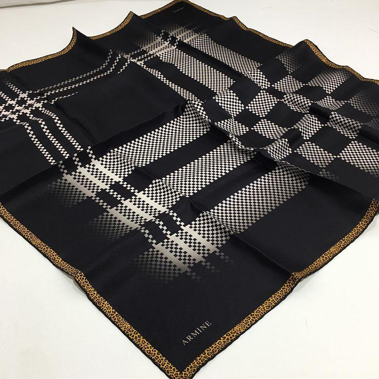 Armine Black and White Printed Silk Scarf Silk Hijabs,Armine Armine