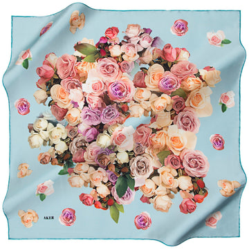 Aker A Confetti of Beautiful Roses Silk Twill Scarf Aker,Silk Scarves Aker