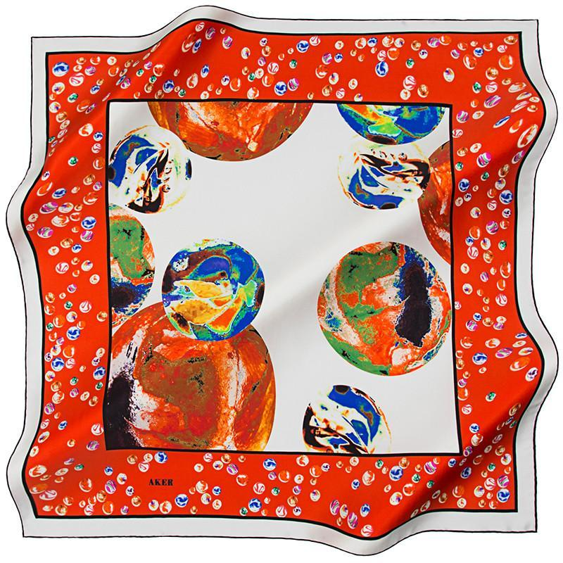 Aker Luxury Silk Scarves for Women Spheres