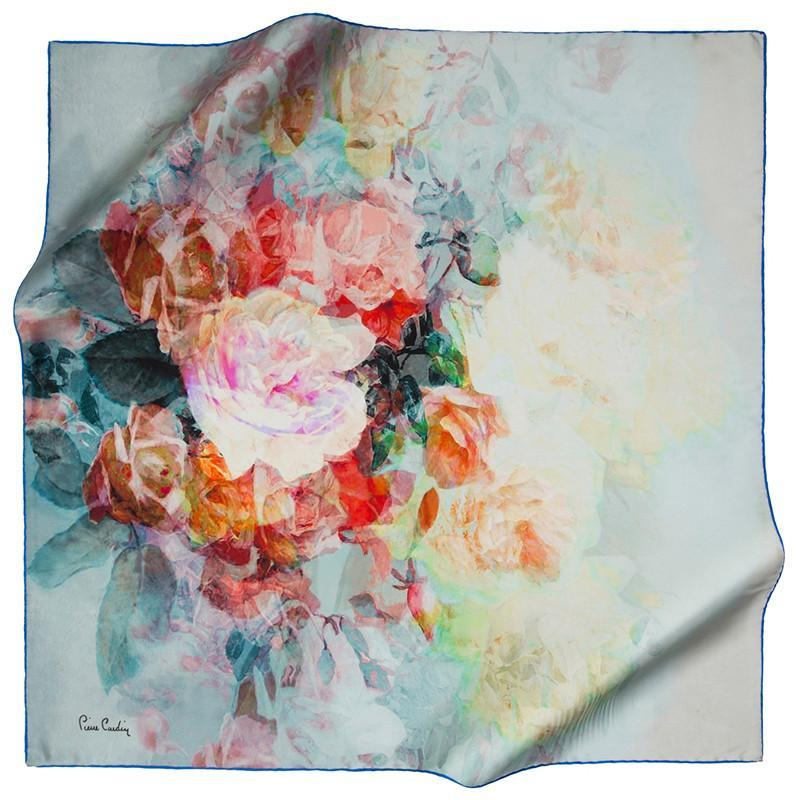 Pierre Cardin : Peony and Roses Unique Hair Scarf Pierre Cardin,Silk Scarves Pierre Cardin